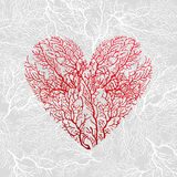 Card with heart of red coral Royalty Free Stock Photography