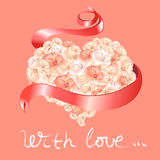 Card with heart of roses and ribbon Royalty Free Stock Photography