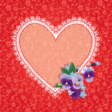 Card with Heart shape is made of lace doily Royalty Free Stock Photos
