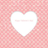Card with heart shape on Polka dot background Royalty Free Stock Photography