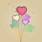 Card with heart-shaped balloons Royalty Free Stock Photo
