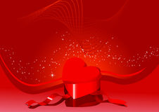 Card with heart-shaped box Royalty Free Stock Photo