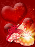 Card with heart shaped box Stock Image