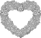 Card of Heart-shaped with flowers. Vector Coloring book for adult. Valentines day card. Weddings invitation. Royalty Free Stock Images