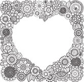Card of Heart-shaped with flowers. Vector Coloring book for adult. Valentines day card. Weddings invitation. Stock Image