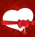 Card heart shaped with silk bow and red rose for V Royalty Free Stock Photos