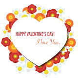 Card with heart. Vector Valentine's Day card with floral background Royalty Free Stock Photo