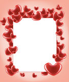 Card with hearts. White card with many red hearts on the pink backrounds Stock Photos