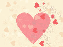 card with hearts and floral ornament Royalty Free Stock Images