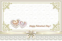 Card with hearts in a frame with an ornament for Valentine's Day Royalty Free Stock Image