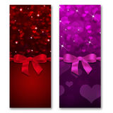 Card with hearts and ribbon with a bow Stock Image
