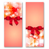 Card with hearts and ribbon with a bow Royalty Free Stock Photography