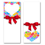 Card with hearts and ribbon with a bow Stock Photography