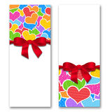 Card with hearts and ribbon with a bow Royalty Free Stock Photo