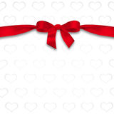 Card with hearts and ribbon with a bow. The concept of Valentine's Day Royalty Free Stock Photo