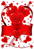 Card with hearts and ribbon Stock Photo