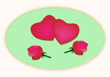 Card with hearts and roses Stock Photography