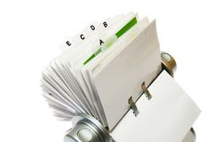 Card Holder. Circular rolodex card file with letter tabs, isolated on a white background stock photos