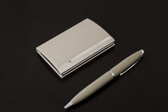 Card holder with pen Stock Photos