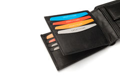 Card Holders of a Black Leather Wallet Royalty Free Stock Photography