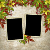 Card for the holiday  with autumn leaves Royalty Free Stock Photos
