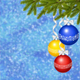 Card for the holiday with ball and ribbons. Blue card for the holiday with ball and ribbons Royalty Free Stock Photo