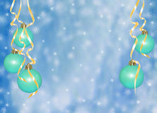 Card for the holiday with balls  and ribbons. Blue card for the holiday with balls  and ribbons Royalty Free Stock Photos