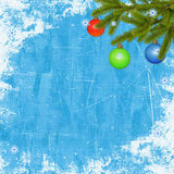 Card for the holiday on the blue background. Card for congratulation with branches, ball and ribbon on the blue background Stock Photo