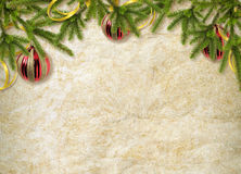 Card for the holiday with branches and balls. On the abstract background Royalty Free Stock Image