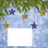 Card for the holiday with branches and balls Royalty Free Stock Images
