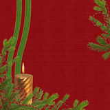 Card for the holiday with  branches and candle. Claret card for the holiday with spruce branches and candle Royalty Free Stock Photos