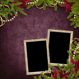 Card for the holiday with branches and flower. On the abstract  background Royalty Free Stock Photography