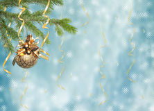 Card for the holiday with branches and ribbons. Blue card for the holiday with branches and ribbons Stock Photos