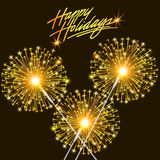 Card for the holiday with burning sparklers Royalty Free Stock Photo