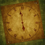 Card for the holiday with clock. On the abstract background Royalty Free Stock Photography