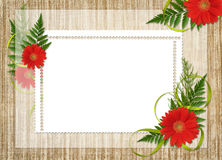 Card for the holiday with flowers and ribbons. Card for the holiday  with flowers and ribbons on the abstract background Royalty Free Stock Images