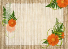 Card for the holiday with flowers and ribbons. Card for the holiday  with flowers and ribbons on the abstract background Royalty Free Stock Photography