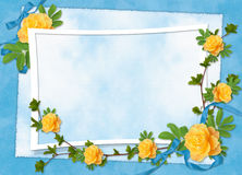 Card for the holiday with flowers and ribbons. Card for the holiday  with flowers and ribbons on the abstract background Royalty Free Stock Image