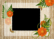 Card for the holiday  with flowers and ribbons. On the abstract background Royalty Free Stock Photos
