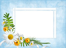 Card for the holiday  with flowers and ribbons Stock Images