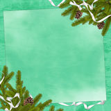 Card for the holiday on the green background. Card for congratulation with branches and ribbon on the green background Royalty Free Stock Photos