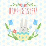 Card for the holiday of Passover. With rabbit in the eggshell in Stock Photo