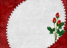 Card for the holiday with red rose Stock Photo