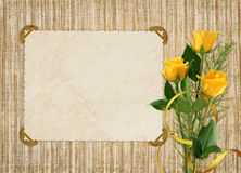 Card for the holiday with yellow rose. On the abstract background Royalty Free Stock Photo