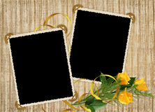 Card for the holiday with yellow rose. On the abstract background Stock Image