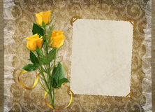 Card for the holiday with yellow rose. On the abstract background Royalty Free Stock Images