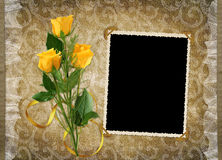 Card for the holiday with yellow rose Stock Photography