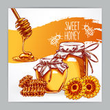 Card with honey Stock Photography