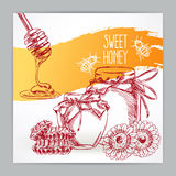 Card with honey - 2 Royalty Free Stock Images