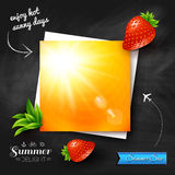 Card with hot summer sun on a chalkboard background. Vector imag Royalty Free Stock Image